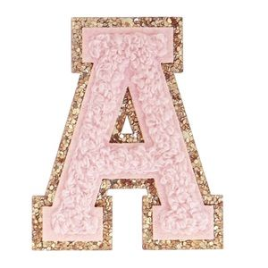 Pink Glitter Chenille Varsity Letter Patches